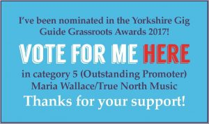 Vote for me in the Yorkshire Gig Guide Grassroots Awards!